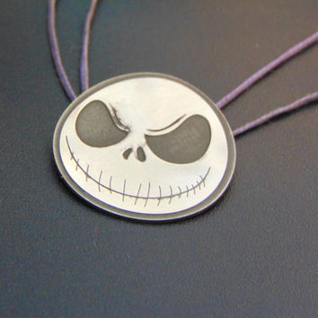 Beautiful Jack Skellington silver pendnat- Sterling silver Jack pendant-Nightmare before Christmas jewelry- Geek fashion- Artisan jewelry
