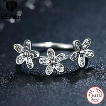 Authentic 100% 925 Sterling Silver Dazzling Daisies Stackable Ring Clear CZ Flower Co