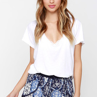 White Crow Solar Ivory and Navy Blue Print Shorts