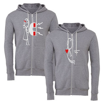 love magnatic matching couple zipper hoodie
