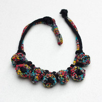 Fiber statement necklace, knit crochet colorful jewelry with bamboo beads, OOAK