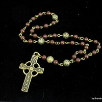 Anglican Prayer Beads -  Celtic Cross with Maroonn Pearls in Antique Bronze