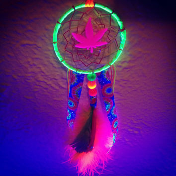 "3"" black light neon marijuana car dreamcatcher"