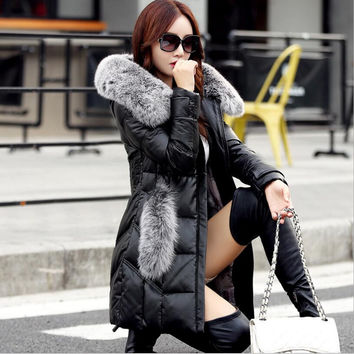 2016 Women's winter jacket Genuine Leather Long section Down jacket Large size Fox fur collar Sheep skin coat super Keep warm