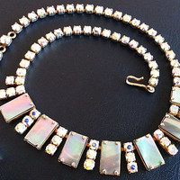 "Aurora Borealis Rhinestone Choker Necklace MOP Stones Bling Silver Metal Hook Clasp 16"" Vintage"