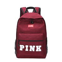Victoria Pink Fashion New Letter Print Canvas Leather Leisure Women Backpack Bag Burgundy