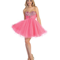 2013 Prom Dresses - Pink Chiffon & Beaded Strapless Short Prom Dress