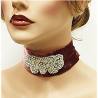 Marsala jewelry, vintage inspired choker, Victorian jewelry, velvet headband, Marsala headband, wedding accessory, Hair jewelry