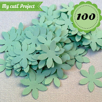 Pastel Green Confettis - 100 Flowers - Scrapbooking - Party confetti