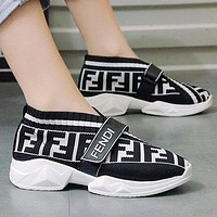 FENDI Popular Women Casual Breathable Knit Running Sport Shoes Sneakers White&Black