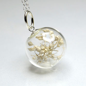 White dried baby's breath flower blown glass ball silver necklace