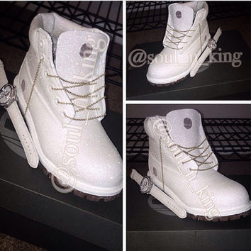 White Diamonds Custom Made Timberland From Kingofsole On Etsy