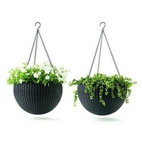 Garden Plant Hanging Planters Decor Pots 2 pc Round Plastic Resin Pots Brown