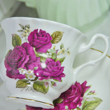CROWN DORSET  Burgundy Rose Tea Cup and Saucer, Staffordshire, England