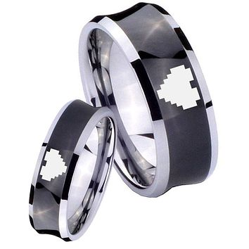 His Her Black Concave Zelda Heart Two Tone Tungsten Wedding Rings Set