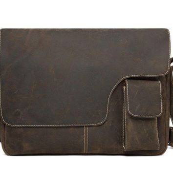 BLUESEBE MEN HANDMADE VINTAGE GENUINE LEATHER CROSSBODY MESSENGER BAG 1092