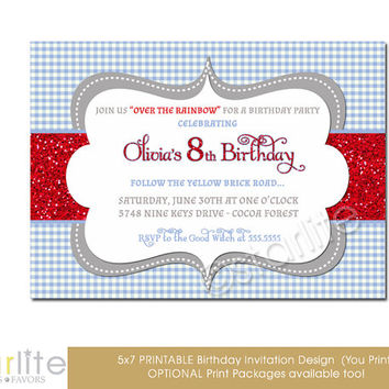 Blue Gingham Red Glitter, Wizard Oz Birthday Invitation theme - 5x7 any age birthday, Printable Invitation Design - You Print