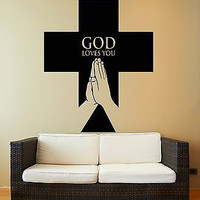 Wall Stickers Vinyl Decal God Cross Praying Symbol Religion Religious  (z1996)