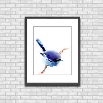 Blue Bird Painting, Art Print from Watercolor PAinting, Bird Art, Watercolour Wall Art