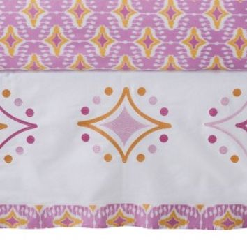 Mudhut pink, white, orange Dawn Pink Crib Skirt