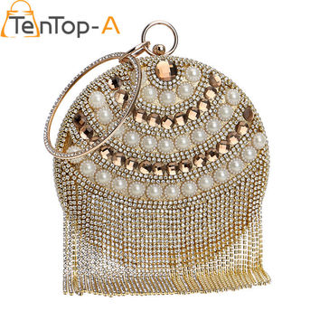 TenTop-A High Quality Luxury Diamond Tassel Evening Bag Purse Bolsa Feminina Pearl Beaded Round Dinner Crystal Clutch Bags