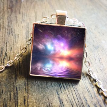 Heavenly Nebula Galaxy Outer Space Silver Pendant Necklace Jewelry