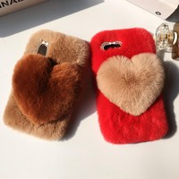 LaMaDiaa Love Heart For iPhone 6s 6 plus Case Cute Rabbit Cover Hairy Fur Fluffy Phone Case For iPhone 5S 7 8 Plus X Capa
