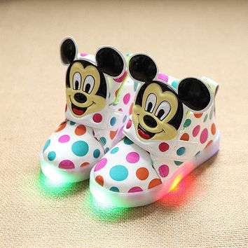 Girls Mickey Mouse Shoes With LED Light