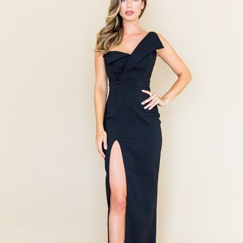 The Sultry Woman Maxi Dress with Thigh High Split