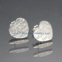 Find The Last Cheap Tiffany Notes'Tiffany & Co.' Heart Mini Earrings in Sterling Sil In Tiffanybluejewelry.com
