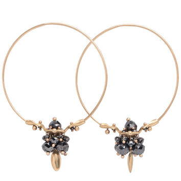 Ted Muehling Black Diamond Cluster Hoop Earrings