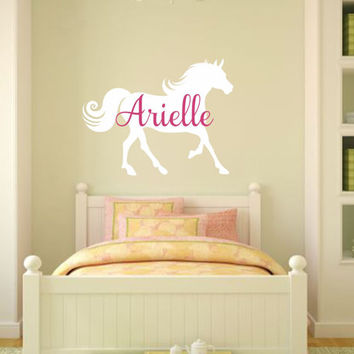 Large Horse Wall Decal Horse Vinyl Decal Cowgirl Wall Decal Western Decal Boy Girl Bedroom Wall Decal Equestrian Decal Cowgirl Decal
