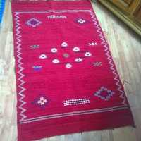 Vintage red hadmade Moroccan rug Free Shipping!!!!