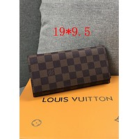 LV Tide brand ladies classic old chess board long flip wallet coffee check