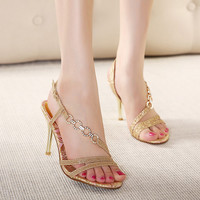 Hot new fashion high heels shoes summer women heels with bright ,sex high heel sandals rome with Sequins 6-8cm