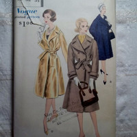 Uncut 1950's Vogue Sewing Pattern, 9801! Size 12 Bust 32 Small/Medium/Women's/Misses/Long Trench Coat Style Jacket/Winter Coats
