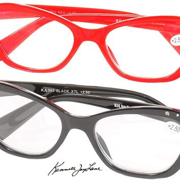 Kenneth Jay Lane Readers Red Black Crystal Accents +2.50 Reading Glasses