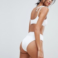 South Beach White Ribbed High Leg Bikini Bottoms at asos.com