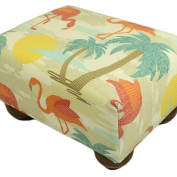 Flamingo Isle Upholstered Fabric Footstool Ottoman