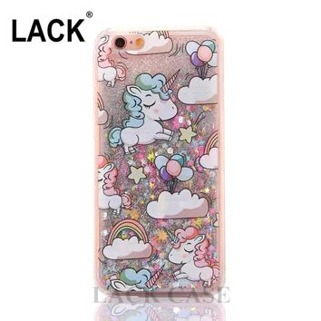 LACK Cartoon Unicorn Horse Cover Dynamic Glitter Stars Dynamic Liquid Phone Cases for iPhone 6 Case For iphone 6S 6Plus 4.7/5.5""