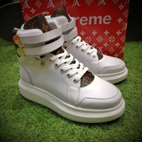 Best Online Sale Supreme x Louis Vuitton x ALEXANDER MCQUEEN High Sneaker Luxury High top White Brown Shoes