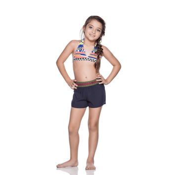 Ondademar Girls Azteca Embroidered Shorts