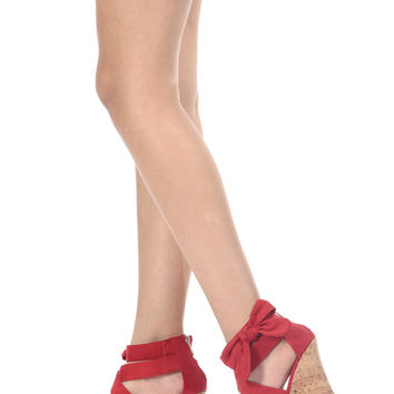 Red Faux Suede Bow Detail Cork Wedges
