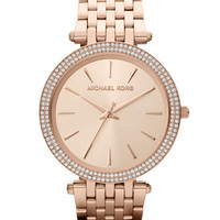 Michael Kors Mid-Size Rose Golden Stainless Steel Darci Three-Hand Glitz Watch - Michael Kors