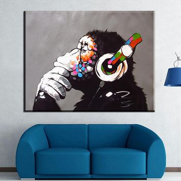 Large Size Animal Monkey Canvas Printed Painting Modern Funny Thinking Monkey with Headphone Wall Art for Living Room Decor