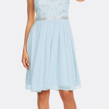 Baby Blue Sleeveless Short Party Lace Dress A-line