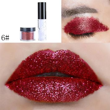 Sexy Eye Makeup  Glitter Powder 1PC Shimmer Glitter Lip Makeup Powder Palette Glitter Lipstick Beauty Cosmetic Eyeshadow Pretty
