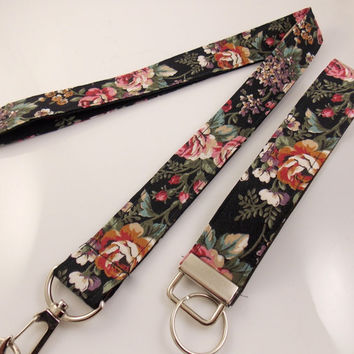 Floral Lanyard Flower Lanyard Garden Lanyard Rose Lanyard Teacher Lanyard Nurse Lanyard Flower Key Holder Key Ring Lanyard Fabric Lanyard
