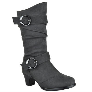 Kids Mid Calf Boots High Heel Double Buckle Side Zipper Closure Gray