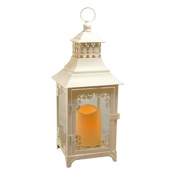Metal Lantern with Flickering Battery Operated LED Candle- White Swirl